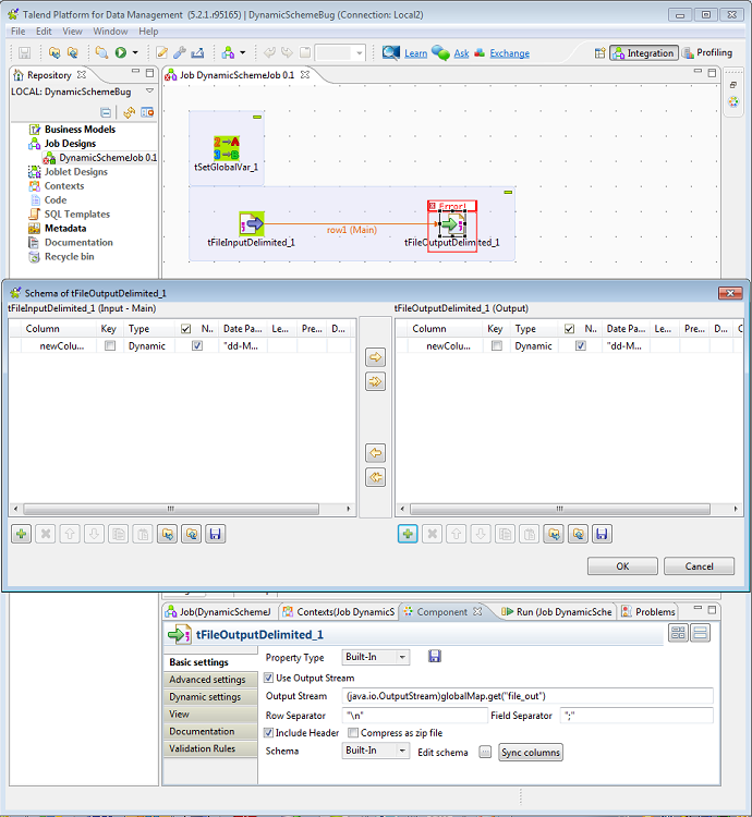Talend Studio generates code with compilation error for