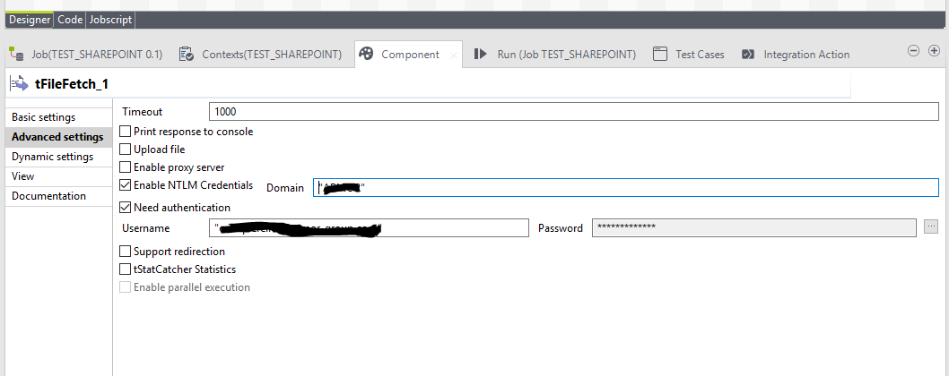 tFileFetch and Sharepoint (Page 1) / Open Data Integration - Usage